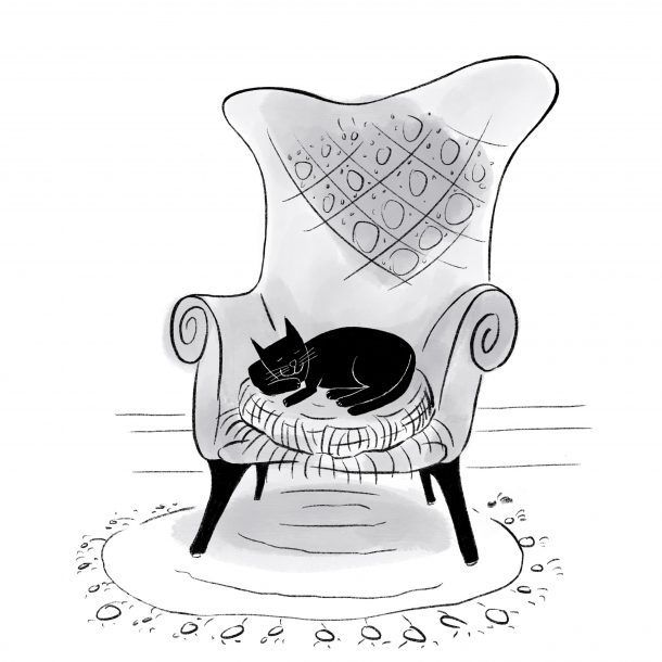 A black, white and grey illustration of a black cat napping contentedly on a vintage wingback chair, with a circular fringed rug underneath